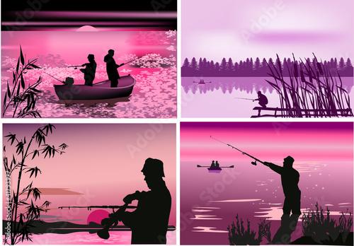 fishermen near rivers at sunset