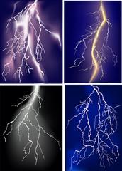 four lightnings in dark sky