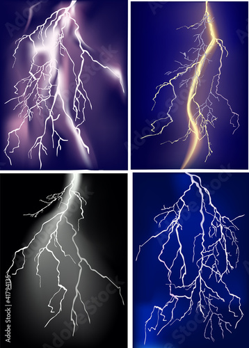 four lightnings in dark sky
