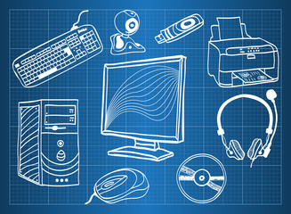 Blueprint of computer hardware - peripheral devices
