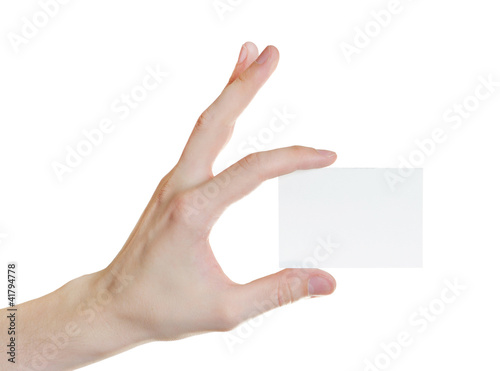 Paper card in man hand isolated