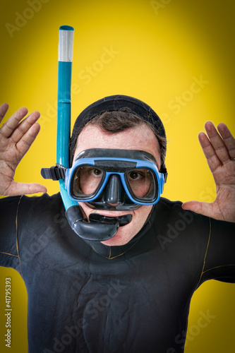 diver in a yellow pop art portrait