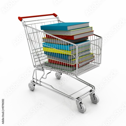 Buying of books. Objects isolated over white