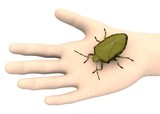 3d render of hand with sting bug poster