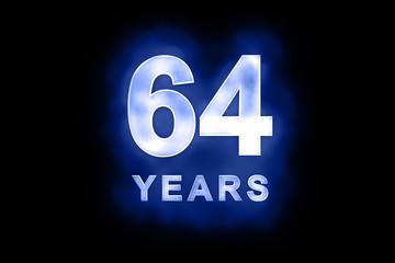 64 Years in glowing white numbers on blue