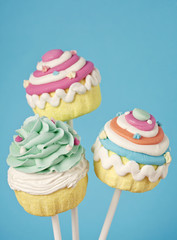 Colorful cupcake pops