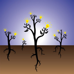 Concept of idea plants growing in fertile mind