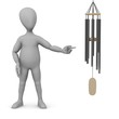 3d render of cartoon character with wind chimes