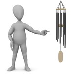 3d render of cartoon character with wind chimes poster