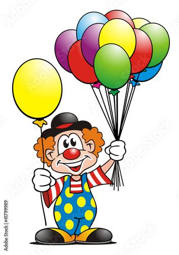 Leinwanddruck Bild Clown Balloons