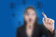 Business lady pushing Social Network diagram.
