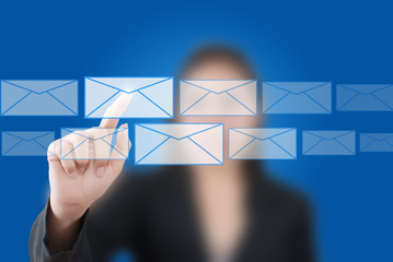 Business hand pushing mail for social network.