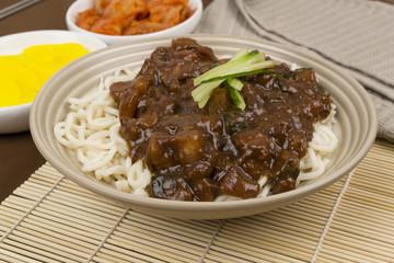 Jajangmyeon - Korean/Chinese black bean noodle, danmuji & kimchi