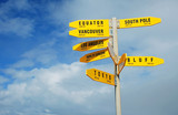 Signpost with travel destinations