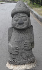 traditional stone statue in Jeju island