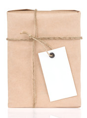 paper parcel wrapped tied with price tag