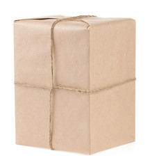 parcel wrapped with brown paper isolated on white