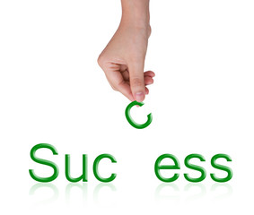 Word Success and female hand, business concept, isolated on whit