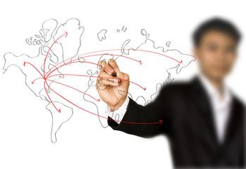 Businessman hand drawing a social network scheme on a whiteboard