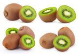 Set of ripe kiwi fruits