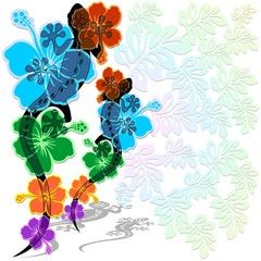 Geco Rettile su Fiori Design Gecko on Flowers-Vector