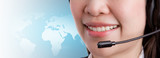 Close-up mouth of a friendly women call center operator