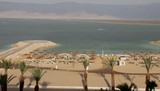 Dead Sea landscape and hotel beach