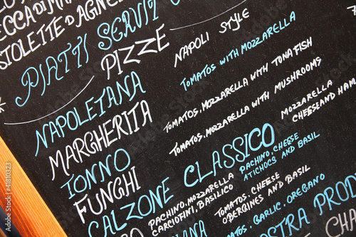 Pizzeria menu in Rome, Italy