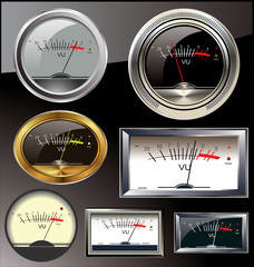 Set of 6 different vu meters
