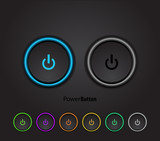 Black led light power button