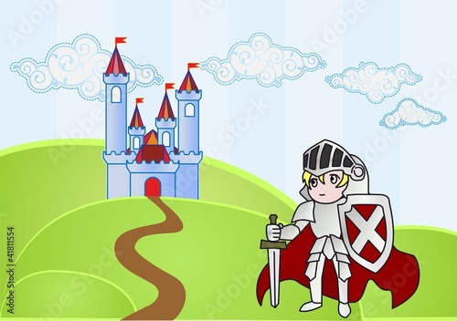 Baby knight with castle on background