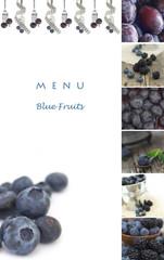 menu for the restaurants, blue fruits