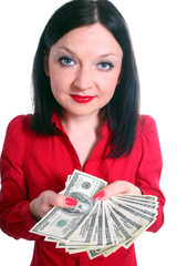 Girl with money isolated