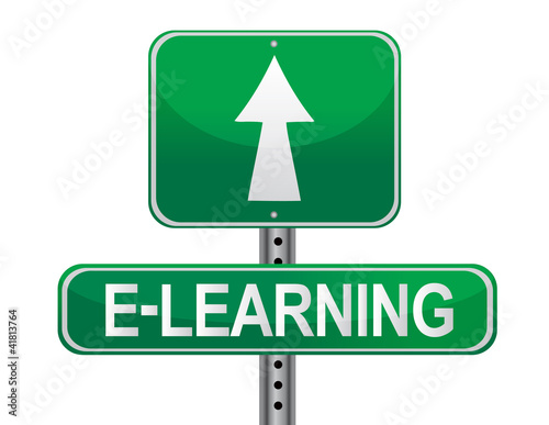 E-learning illustrated sign over a white background