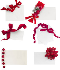 white notes with red ribbons colletion
