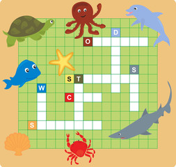 sea animal puzzle (crossword), words game for children
