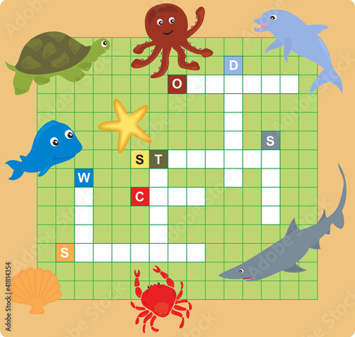 sea animal puzzle (crossword), words game for children