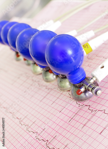 ECG electrodes with suction cups on the background of the electr