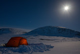 Tent an Moon on a Winter Tour