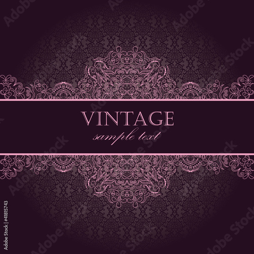 Elegant vintage card with damask seamless wallpaper