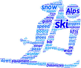 skier pictogram tag cloud blue words on white