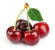 sweet cherries with  leaf