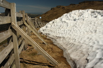 melting snow at plomb du cantal ski resort