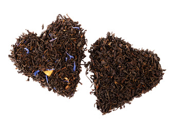 Earl Grey and Lady Grey black loose tea leaves in heart shape, i