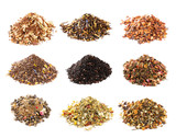 Mate, Rooibos and herbal tea collection isolated on white backgr