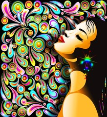 Bella Ragazza Bacio-Girl's Kiss-Colorful Pop Art Design