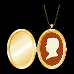 Vintage Man's Cameo, Necklace, Antique Gold Locket, copy space