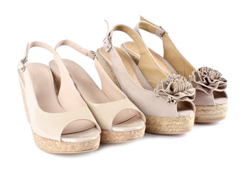 Two Pairs of Beige Women's  Wedge Sandals