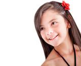 Pensive girl smiling