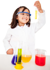 Girl in the laboratory